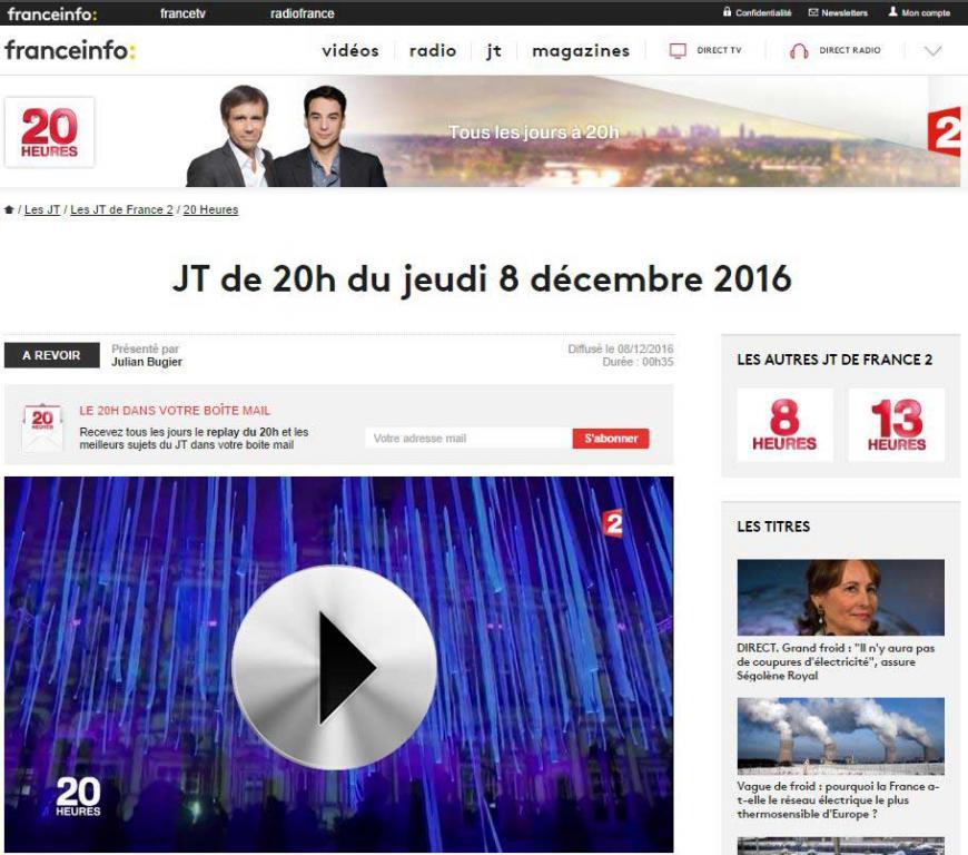 France 2 20h Journal national : Fête des Lumières