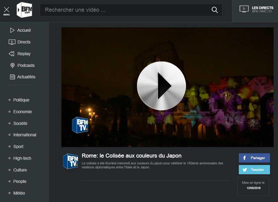 BFM TV Rome: le Colisée aux couleurs du Japon