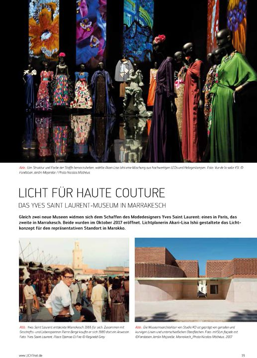 Licht Licht für Hau te Couture Das Yves Saint Laure nt-Museum in Marrakesch