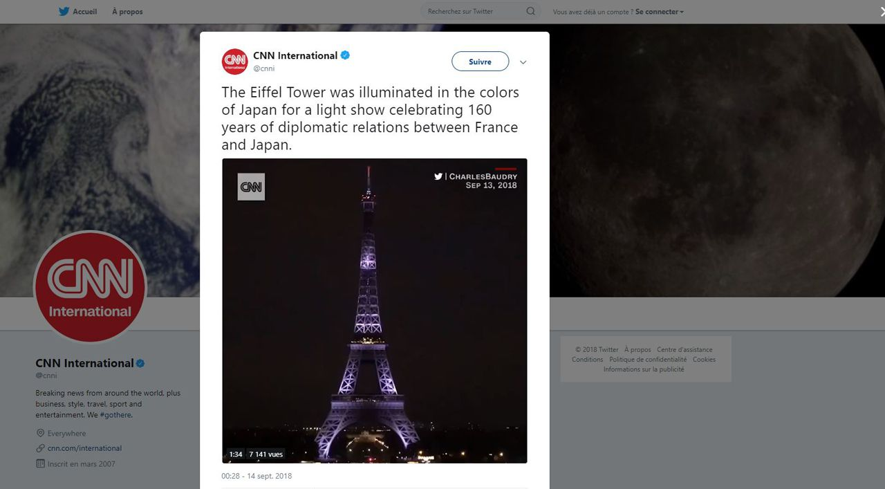CNN international The Eiffel Tower was illuminated in the colors of Japan