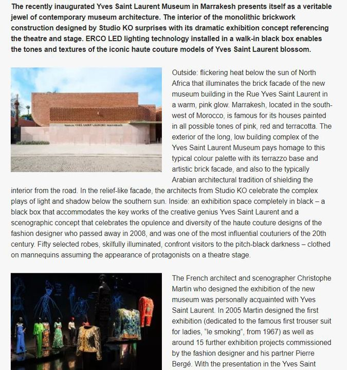Trending Yves Saint Laurent Museum in Marrakesh with ERCO Lighting Tools