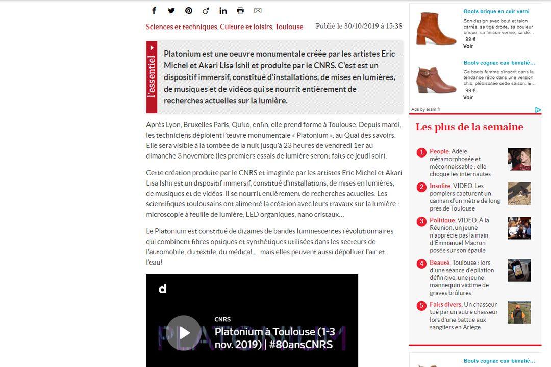 La depeche Platonium, l'œuvre monumentale au croisement de l'art et de la science arrive à Toulouse
