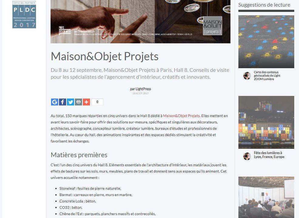 Lightzoom Maison&Objet Projets