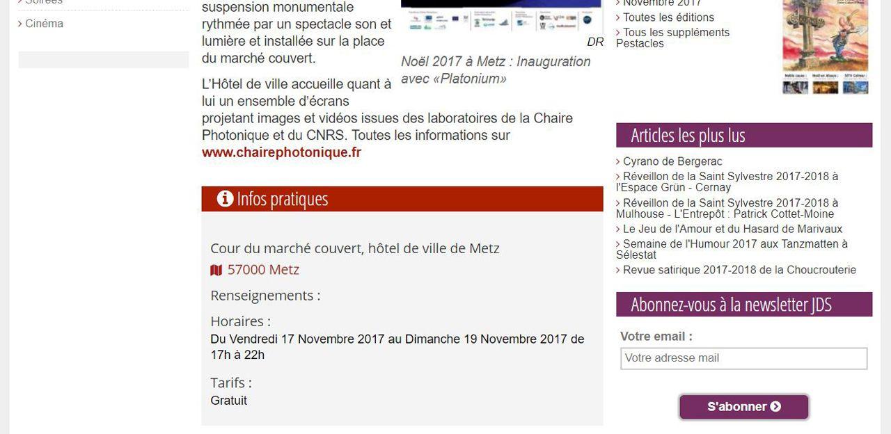 Jds Noël 2017 à Metz : Inauguration avec «Platonium»