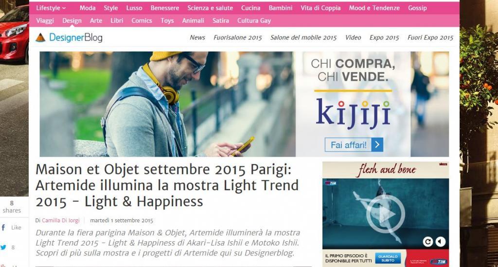 Designer blog Maison et Objet settembre 2015 Parigi: Artemide illumina la mostra Light Trend 2015 - Light & Happiness